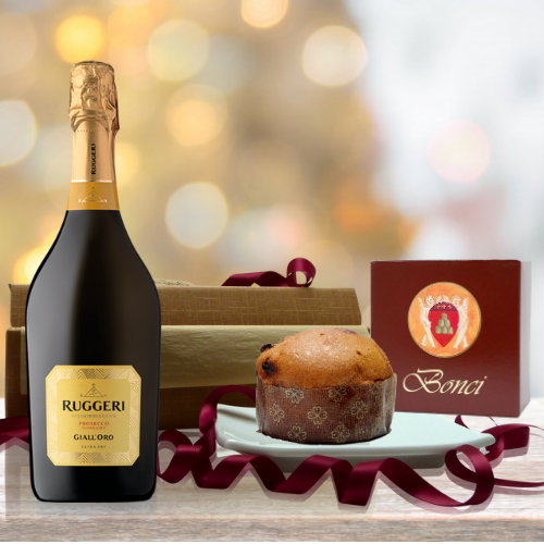 christmas prosecco and bonci gift