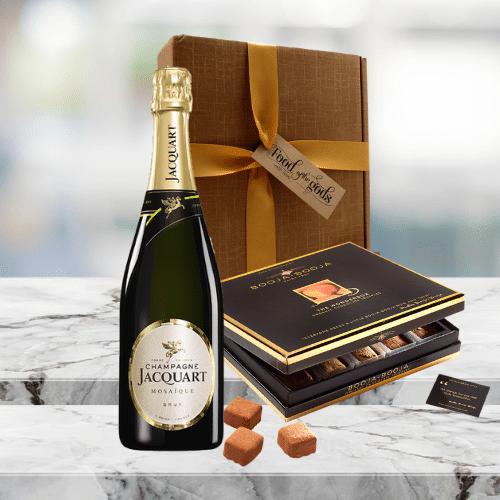 champagne and chocolate truffles giftbox