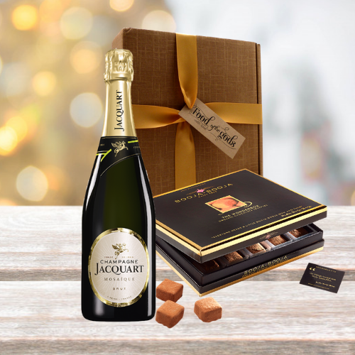 luxury champagne and truffles gift