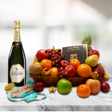 luxury fruit basket with champagne and truffles
