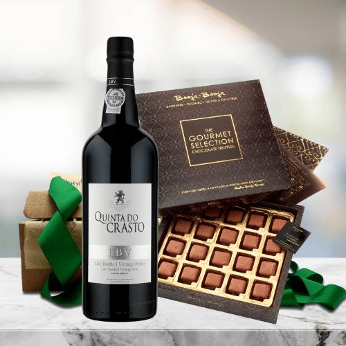 port and chocolate truffles gift box