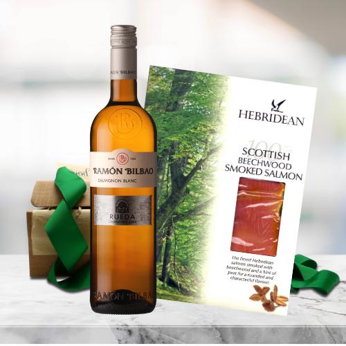 white wine and smoked salmon gift